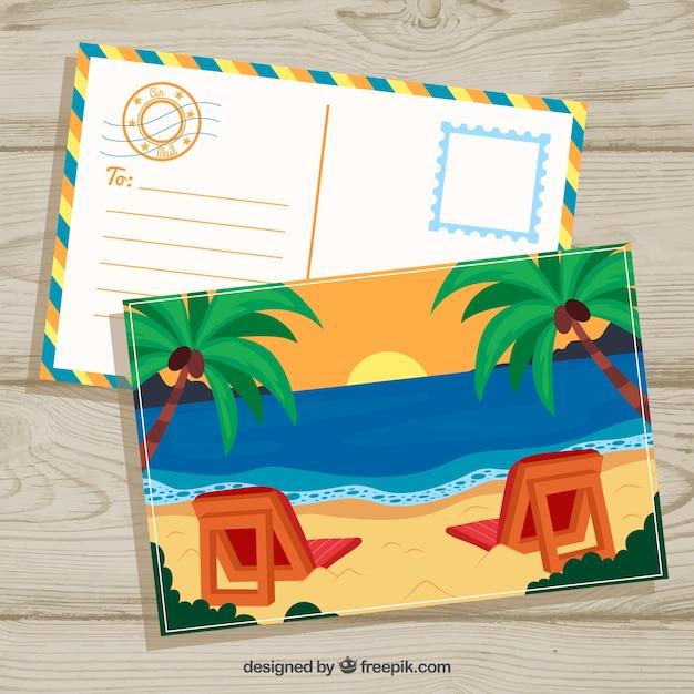 Modèle De Carte Postale D'été Dessinés à La Main Avec Plage Et Coucher De Soleil | Vecteur Gratuite