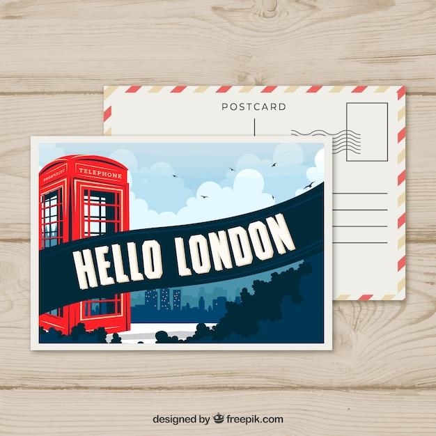 Modele De Carte Postale De Londres Avec Un Design Plat Vecteur Gratuite