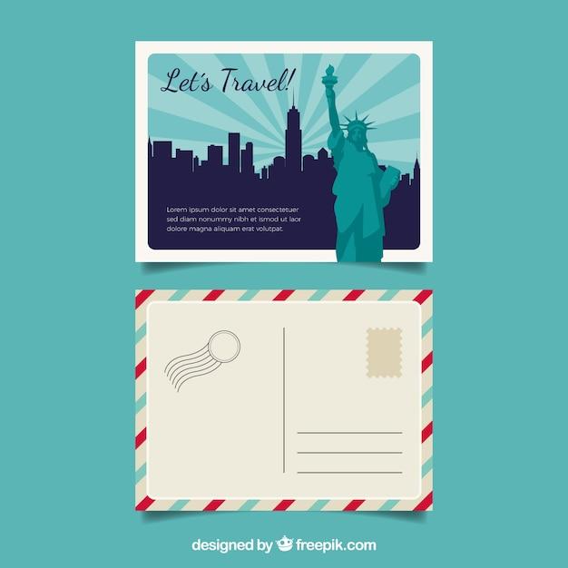 Modele De Carte Postale De New York Avec Un Design Plat Vecteur Gratuite