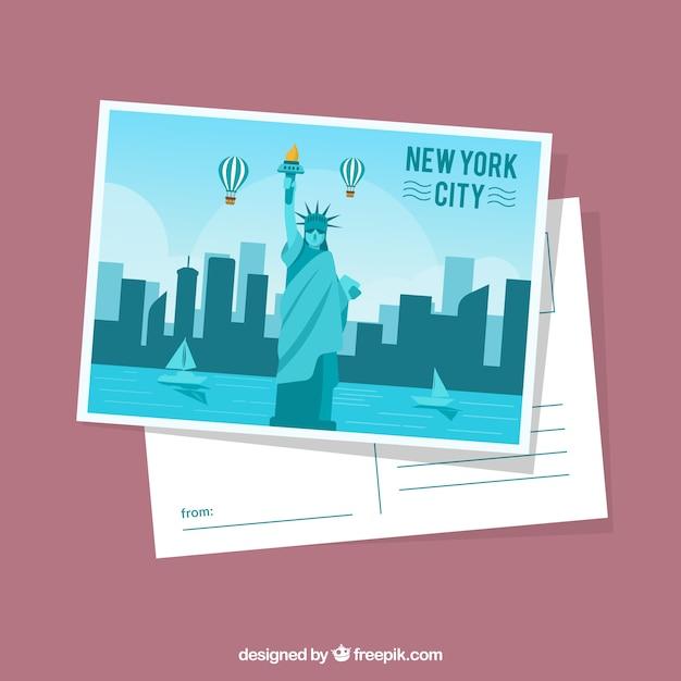 Modèle de carte postale de new york avec un design plat Vecteur gratuit