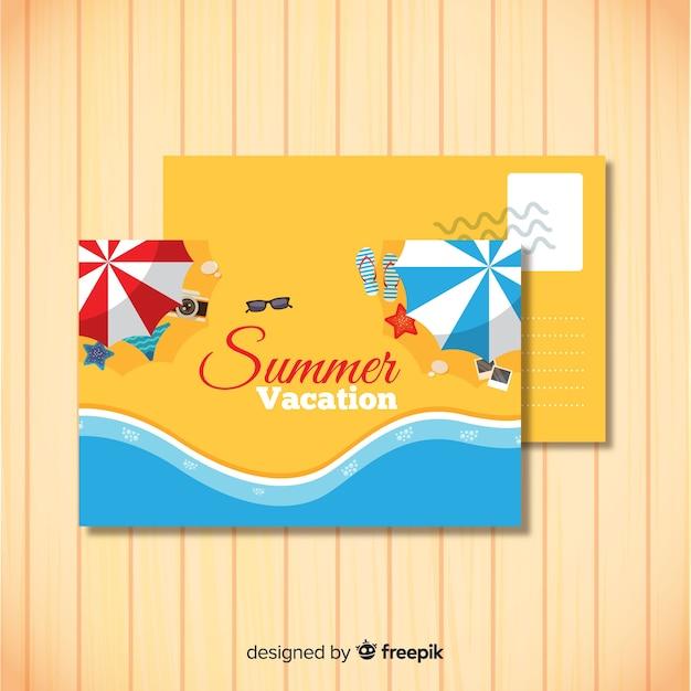 Modèle De Carte Postale De Vacances été Dessiné Main | Vecteur Gratuite