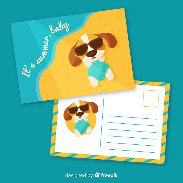 Modèle de carte postale de vacances d'été plat Vecteur gratuit