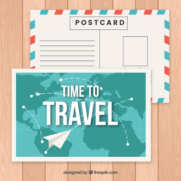 Modele De Carte Postale De Voyage Avec Avion En Papier Vecteur Gratuite