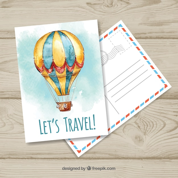 Modèle de carte postale de voyage avec ballon wtercolor Vecteur gratuit