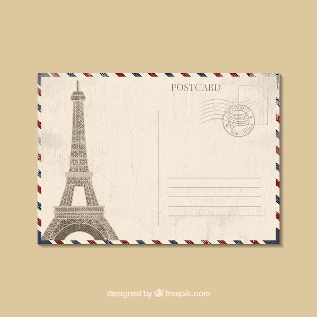 Modèle De Carte Postale De Voyage Dans Le Style Plat Vecteur Premium