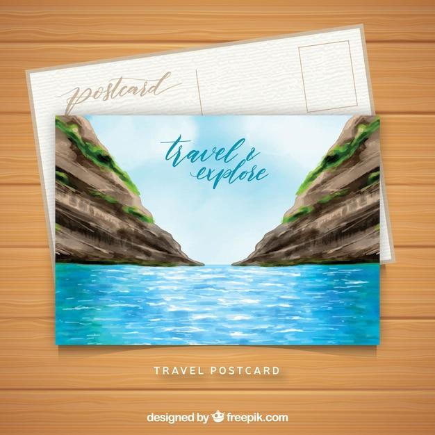 Modele De Carte Postale De Voyage Avec Paysage Aquarelle Vecteur