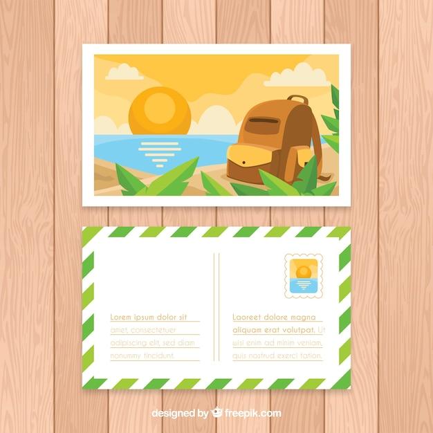 Modèle De Carte Postale De Voyage Plat Avec Style D'été | Vecteur Gratuite