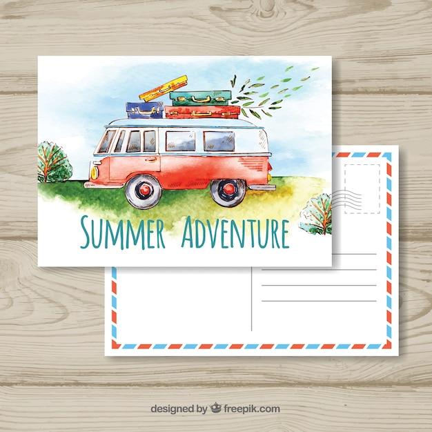 Modèle de carte postale de voyage avec van aquarelle Vecteur gratuit