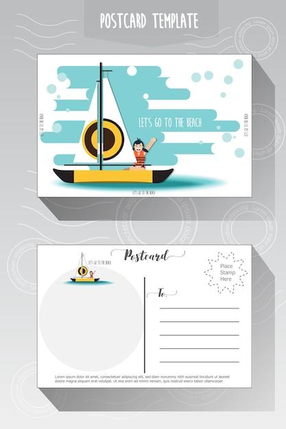 Modèle de carte postale Vecteur Premium