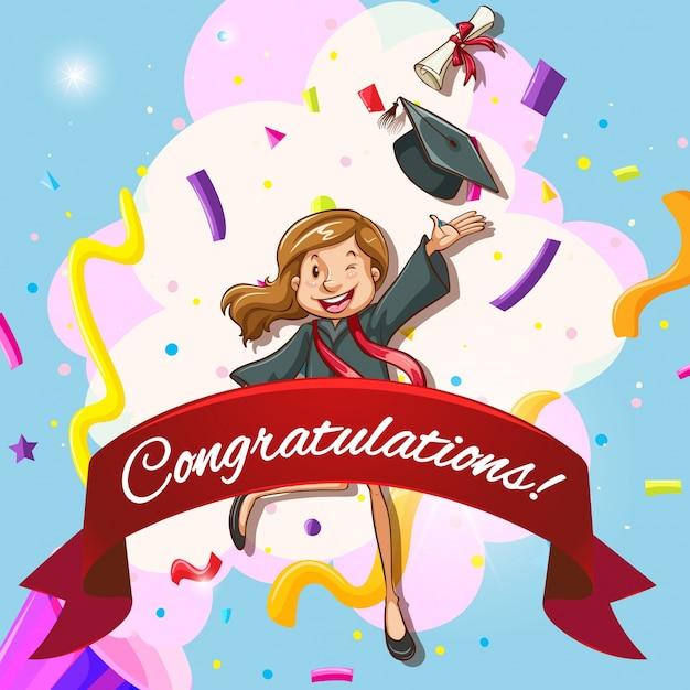 Modèle de carte pour félicitation avec une femme en robe de remise des diplômes Vecteur gratuit