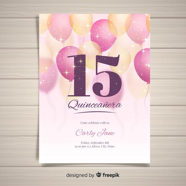 Modèle de carte de quinceanera ballons mousseux Vecteur gratuit
