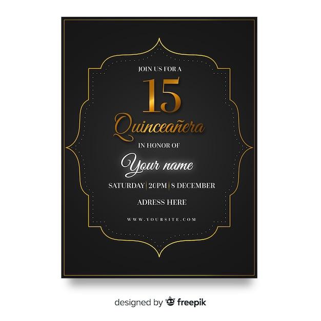 Modèle de carte quinceanera avec détails en bronze Vecteur gratuit