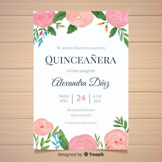 Modèle de carte de quinceanera fleurs peintes à la main Vecteur gratuit