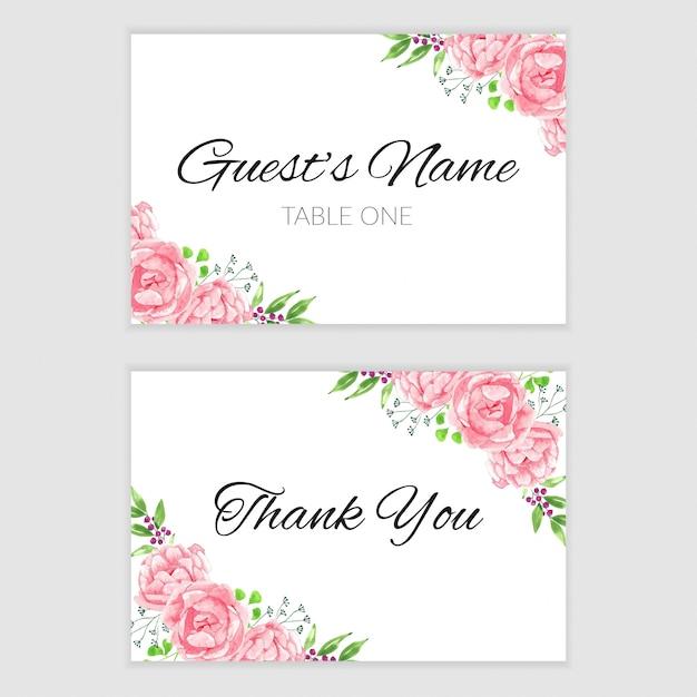 Modele De Carte De Remerciement Avec Cadre De Fleur Aquarelle Rose Vecteur Premium