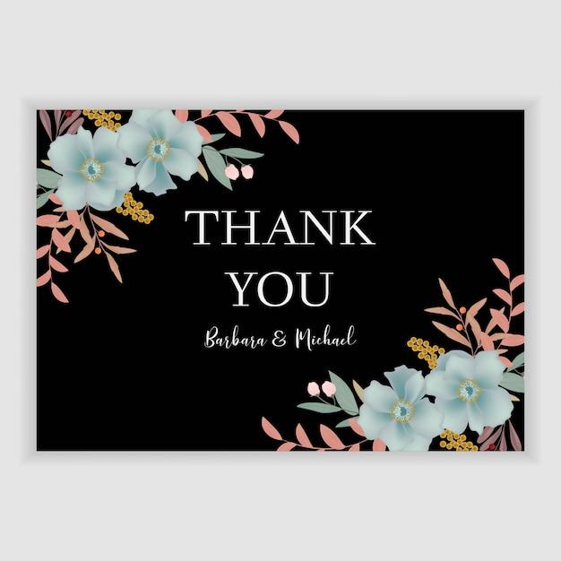 Modèle De Carte De Remerciement Floral Avec Décoration De