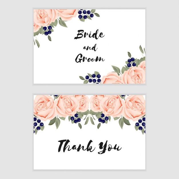 Modèle de carte de remerciement avec ornement de fleur rose pour mariage Vecteur Premium