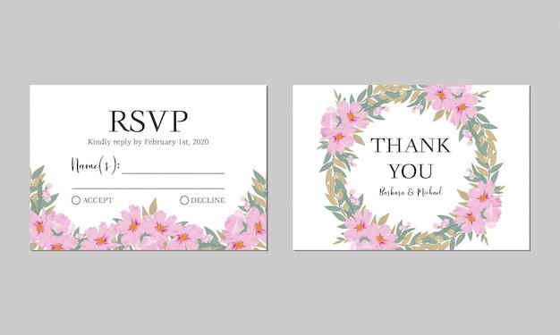Modèle De Carte De Remerciement Rsvp Mariage Floral