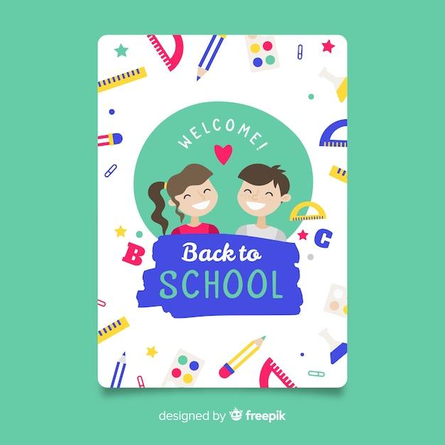 Modèle de carte de retour à l'école Vecteur gratuit
