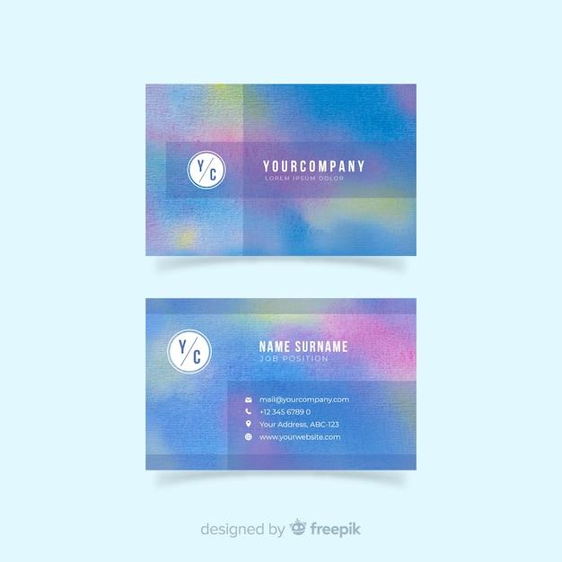 Modèle de carte de visite abstrait aquarelle Vecteur gratuit