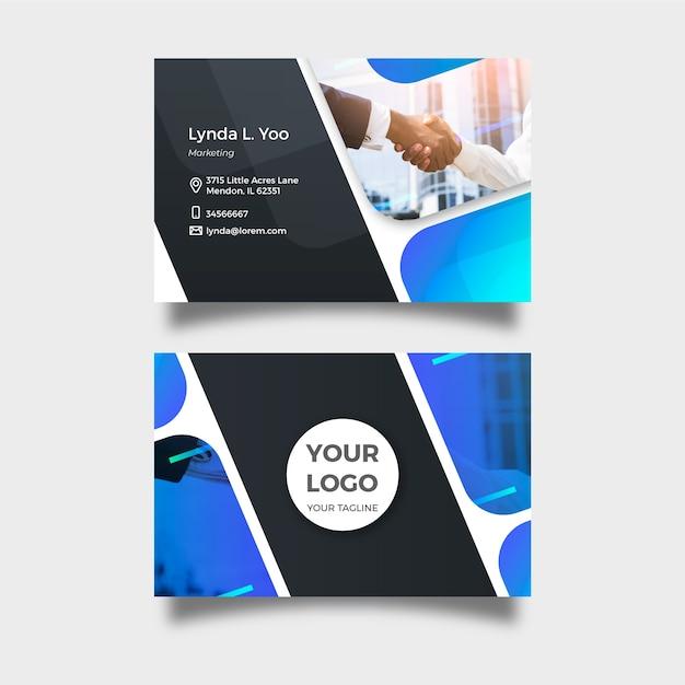 Modèle de carte de visite abstrait avec photo Vecteur gratuit