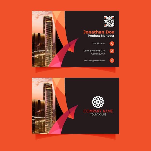 Modèle de carte de visite abstraite avec photo Vecteur gratuit