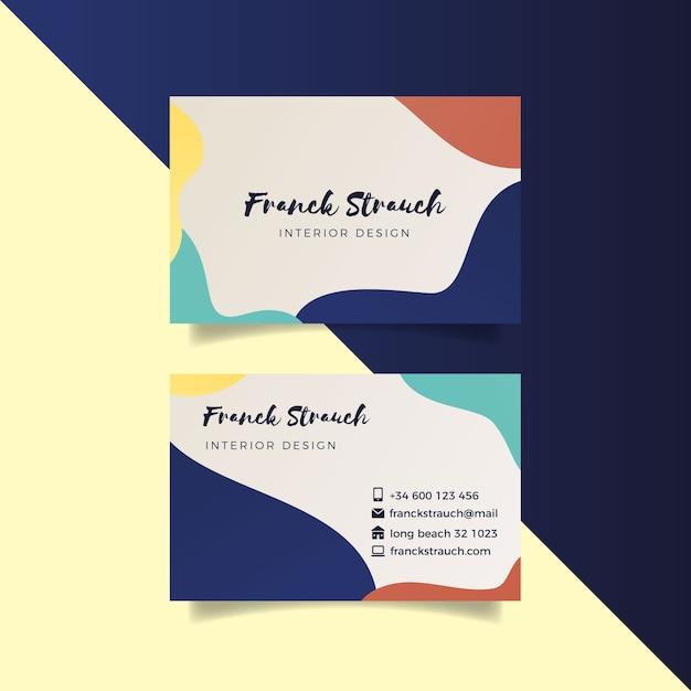 Modèle De Carte De Visite Abstraite Avec Des Taches De Couleur Pastel Vecteur gratuit