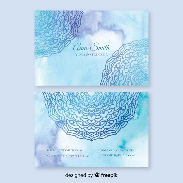 Modèle De Carte De Visite Aquarelle Mandala Bleu Vecteur gratuit