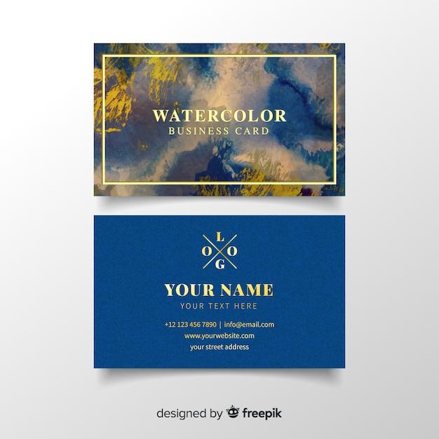 Modèle de carte de visite aquarelle Vecteur gratuit