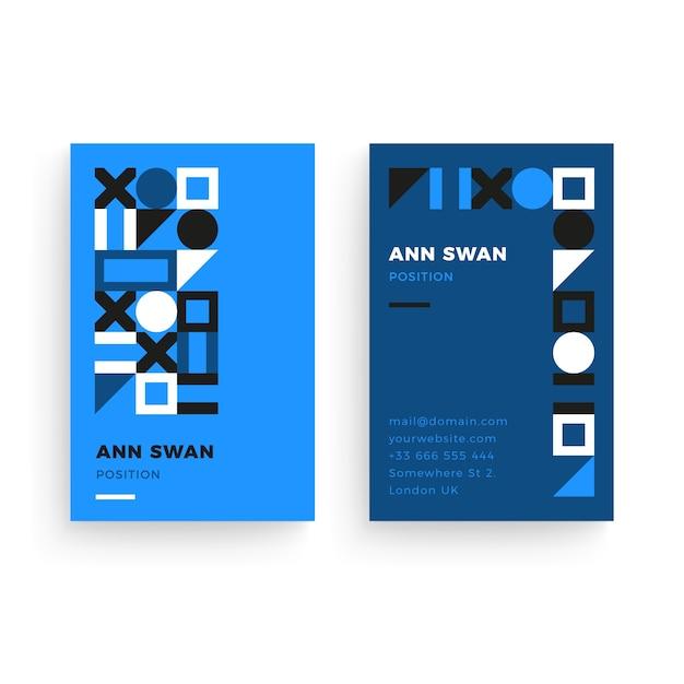 Modèle De Carte De Visite Bleu Abstrait Vecteur gratuit