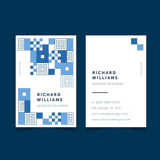 Modèle De Carte De Visite Bleu Classique Abstrait Vecteur gratuit