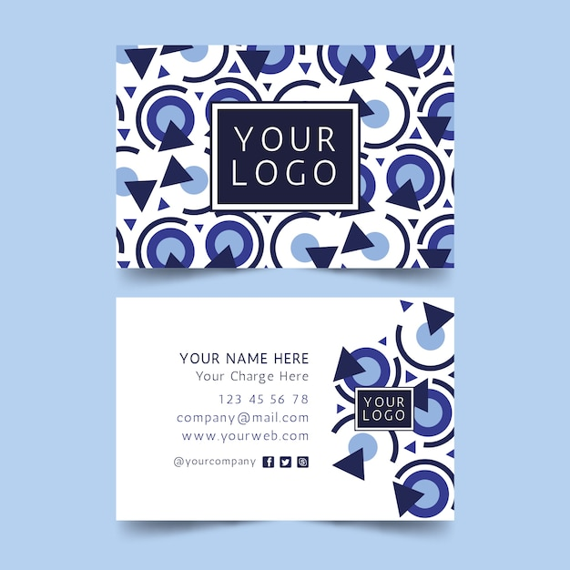 Modèle De Carte De Visite Bleu Classique Vecteur gratuit