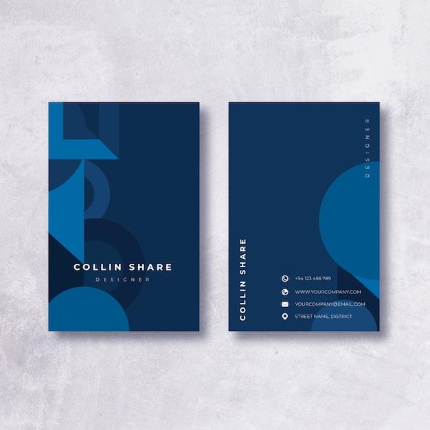 Modèle De Carte De Visite Bleu Foncé Minimaliste Vecteur gratuit