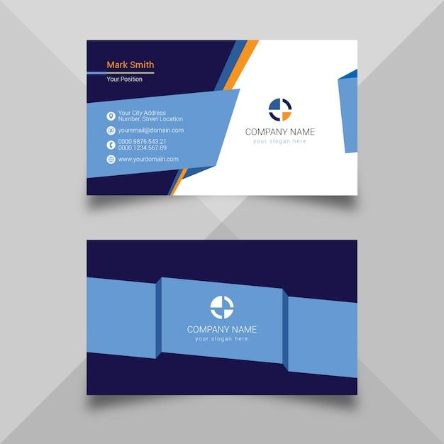 Modèle De Carte De Visite Bleu Moderne Vecteur Premium