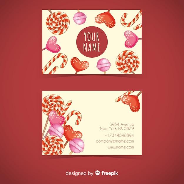 Modèle de carte de visite de bonbons aquarelle Vecteur gratuit