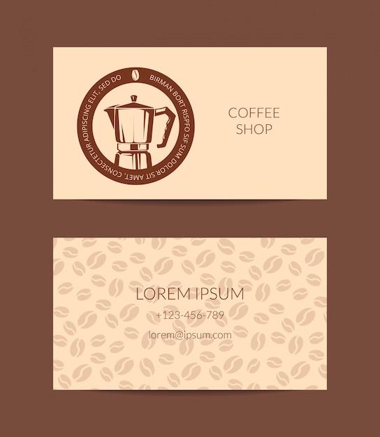 Modèle de carte de visite café ou entreprise isolé Vecteur Premium