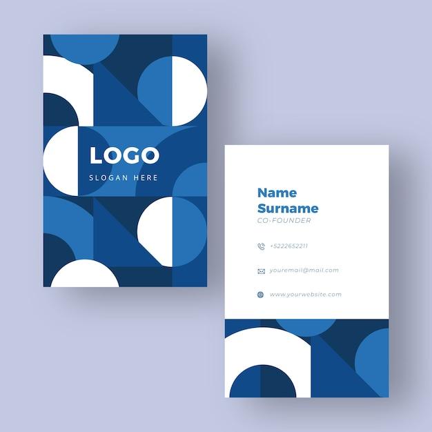 Modèle De Carte De Visite Classique Blanc Et Bleu Vecteur gratuit