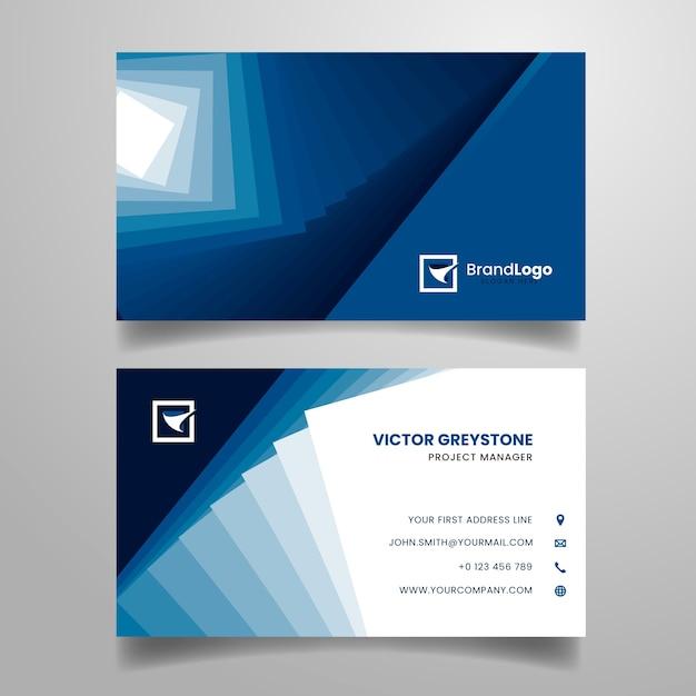 Modèle De Carte De Visite Classique Bleu Abstrait Vecteur gratuit