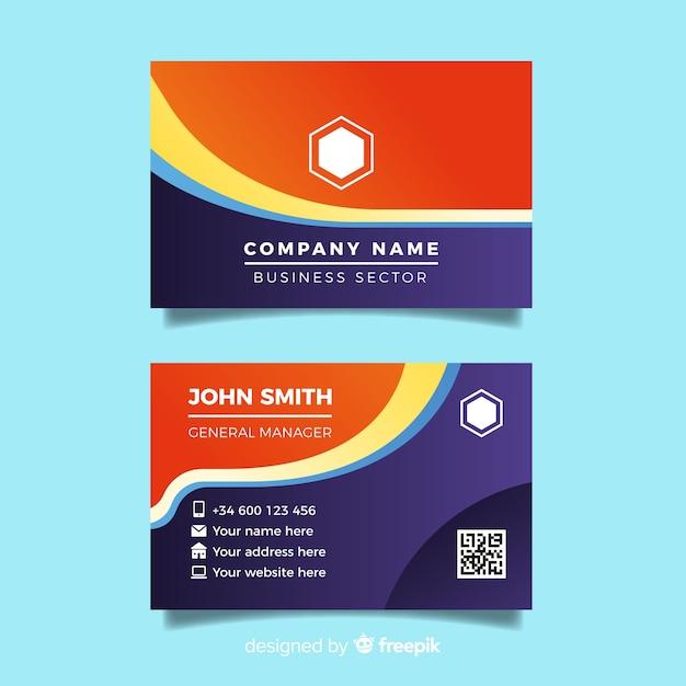 Modèle de carte de visite coloré abstrait Vecteur gratuit