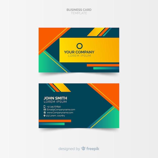Modèle de carte de visite coloré avec design géométrique Vecteur gratuit