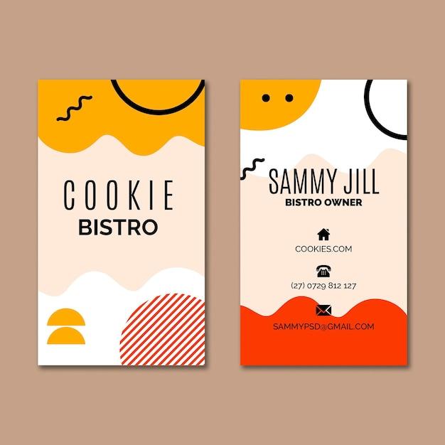 Modèle De Carte De Visite De Cookies Vecteur Premium