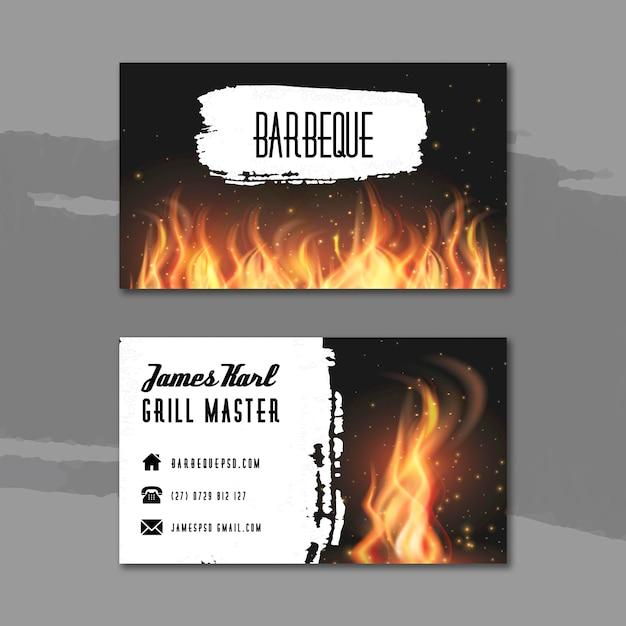 Modèle De Carte De Visite Double Face Barbecue Vecteur gratuit