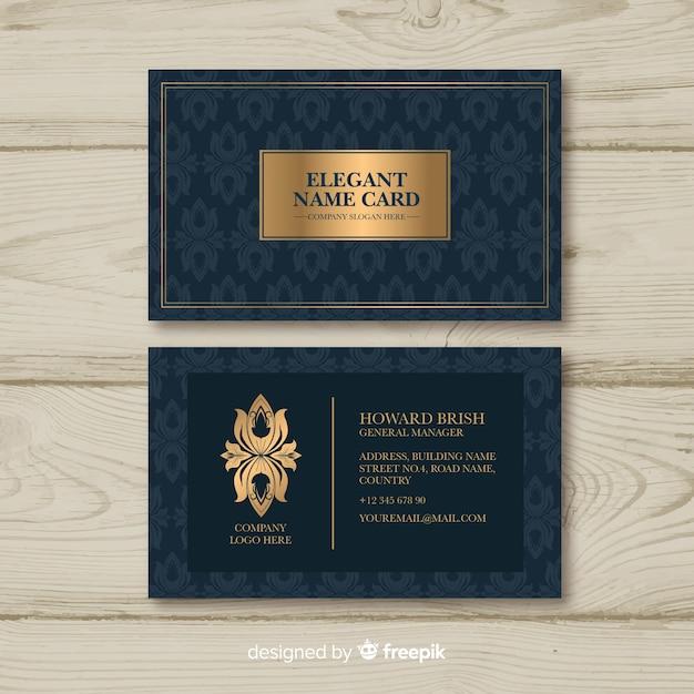 Modèle de carte de visite élégant doré Vecteur gratuit
