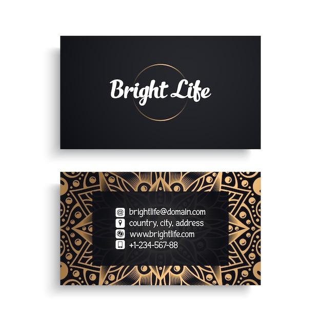 Modèle De Carte De Visite D'entreprise Avec Un Design De Luxe Ethnique, Style Boho Vecteur gratuit