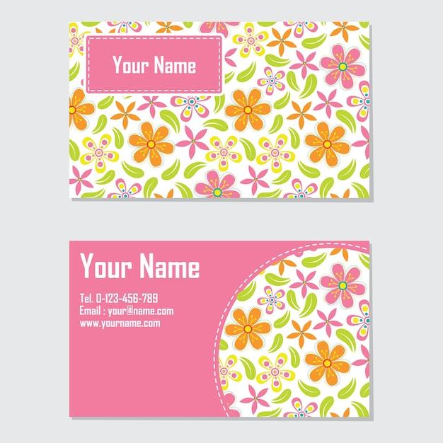 Modle De Carte Visite Avec Fleur Orange Et Rose