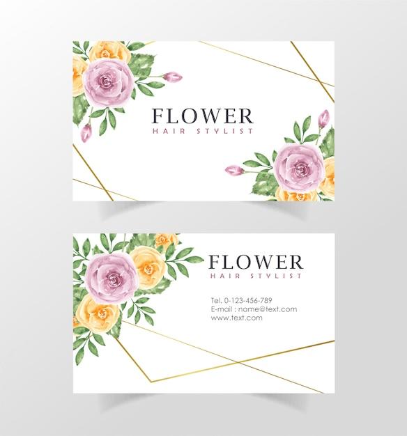 Modèle de carte de visite avec des fleurs Vecteur Premium