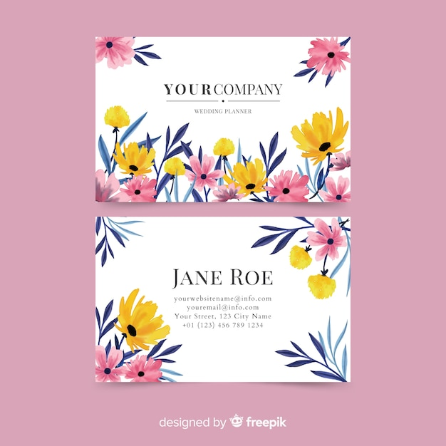 Modèle de carte de visite floral aquarelle élégant Vecteur gratuit