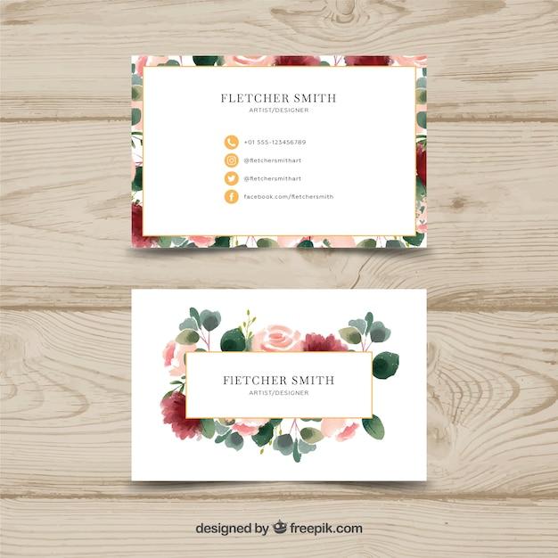 Modèle de carte de visite floral aquarelle Vecteur gratuit