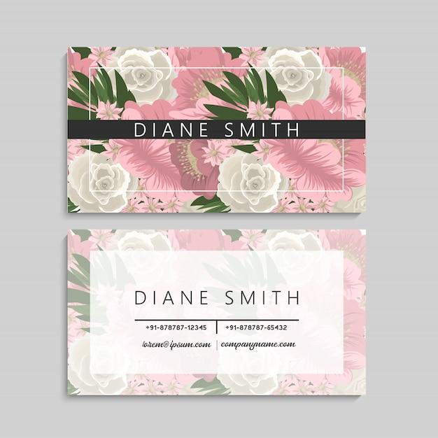 Modèle de carte de visite floral design sur fond blanc Vecteur Premium