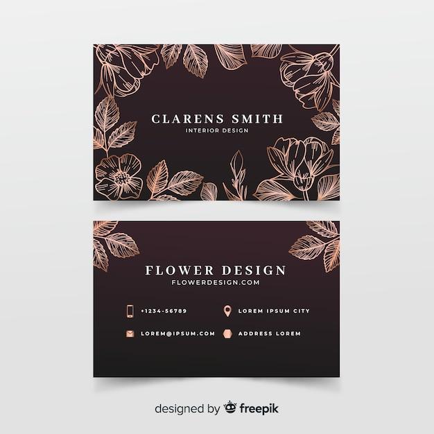 Modèle de carte de visite floral doré Vecteur gratuit