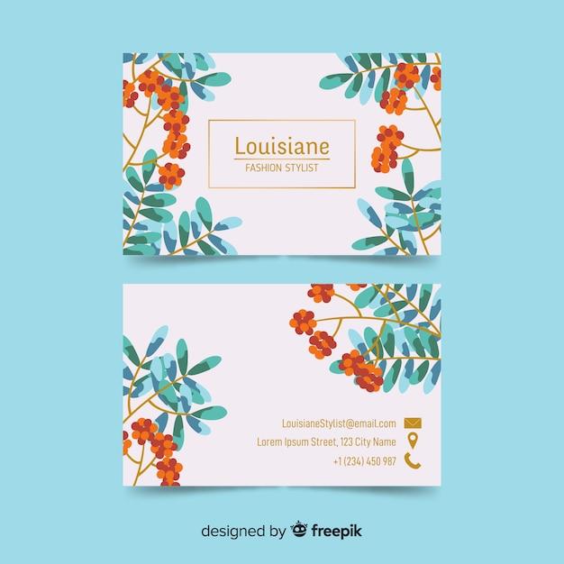 Modèle de carte de visite floral avec lignes dorées Vecteur gratuit